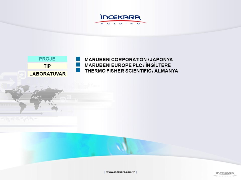 PROJE MARUBENI CORPORATION / JAPONYA. MARUBENI EUROPE PLC / İNGİLTERE. THERMO FISHER SCIENTIFIC / ALMANYA.