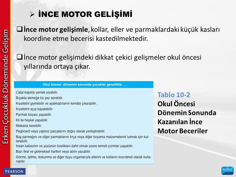 İNCE MOTOR GELİŞİMİ İnce motor gelişimle, kollar, eller ve parmaklardaki küçük kasları koordine etme becerisi kastedilmektedir.