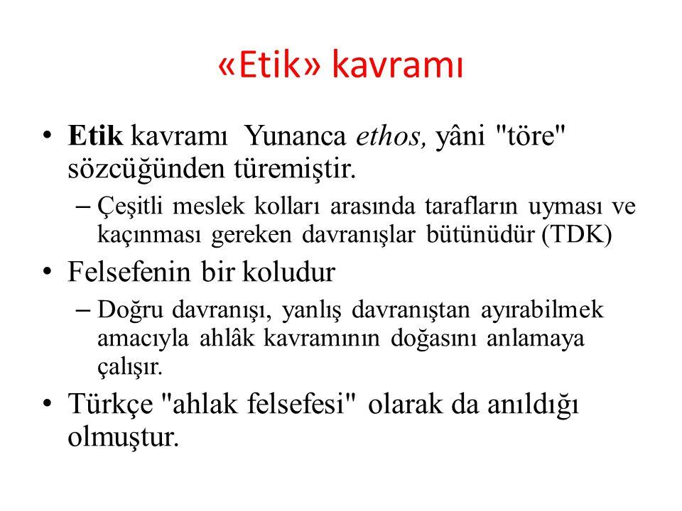 «Etik» kavramı Etik kavramı Yunanca ethos, yâni töre sözcüğünden türemiştir.
