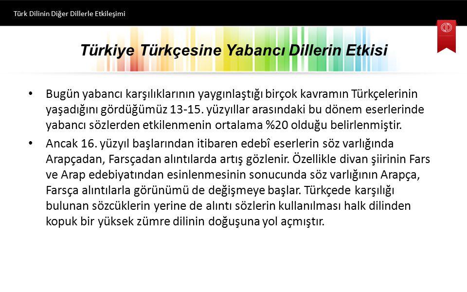 Türkiye Türkçesine Yabancı Dillerin Etkisi