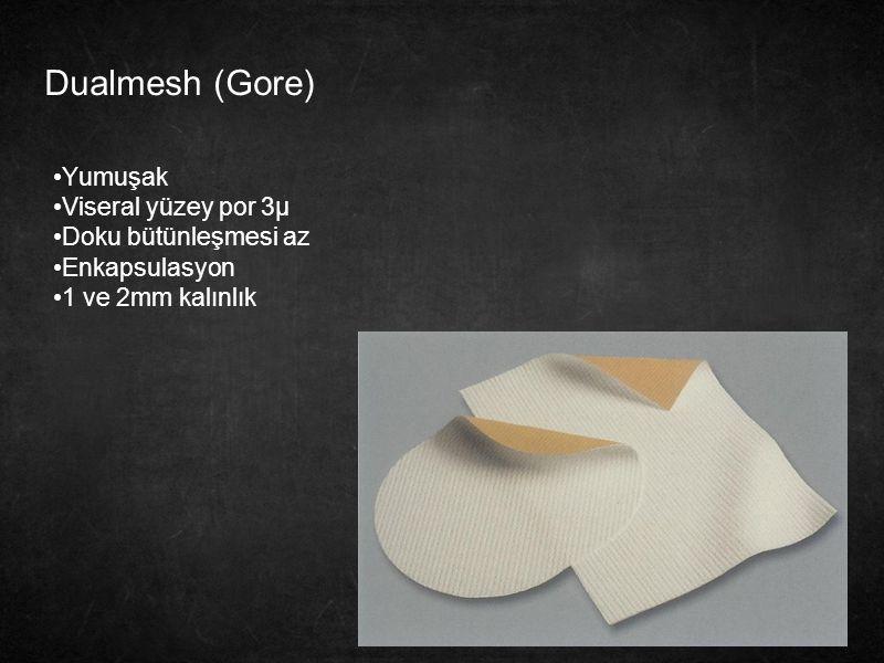 Dualmesh (Gore) Yumuşak Viseral yüzey por 3µ Doku bütünleşmesi az