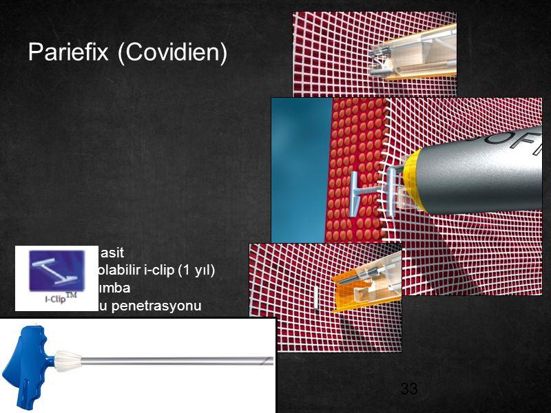 Pariefix (Covidien) Polilaktik asit Absorbe olabilir i-clip (1 yıl)