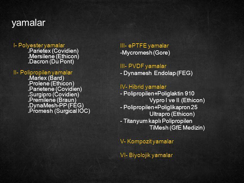 yamalar I- Polyester yamalar Parietex (Covidien) Mersilene (Ethicon)