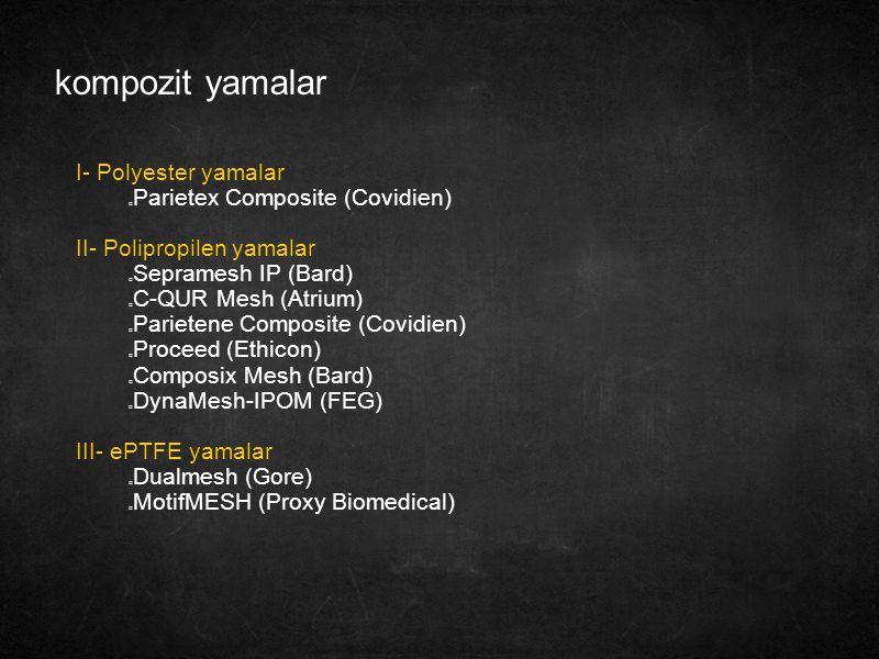 kompozit yamalar I- Polyester yamalar Parietex Composite (Covidien)