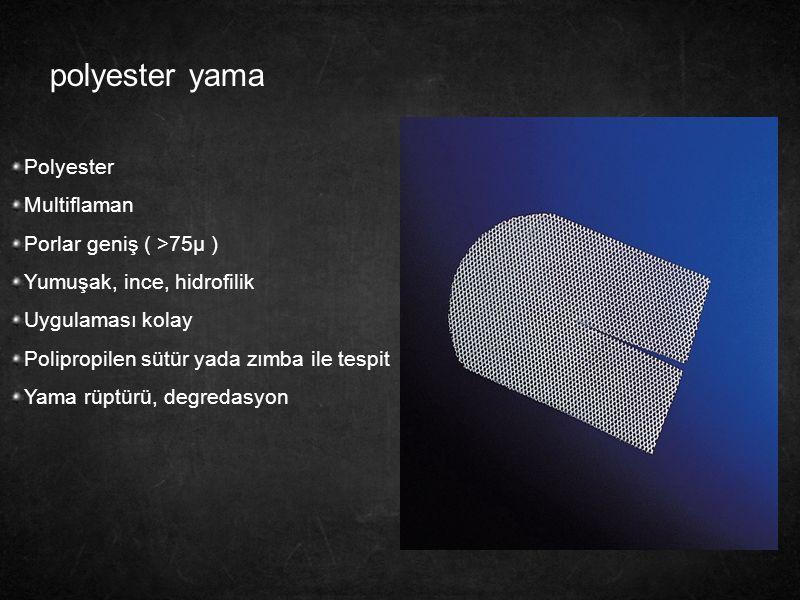 polyester yama Polyester Multiflaman Porlar geniş ( >75µ )
