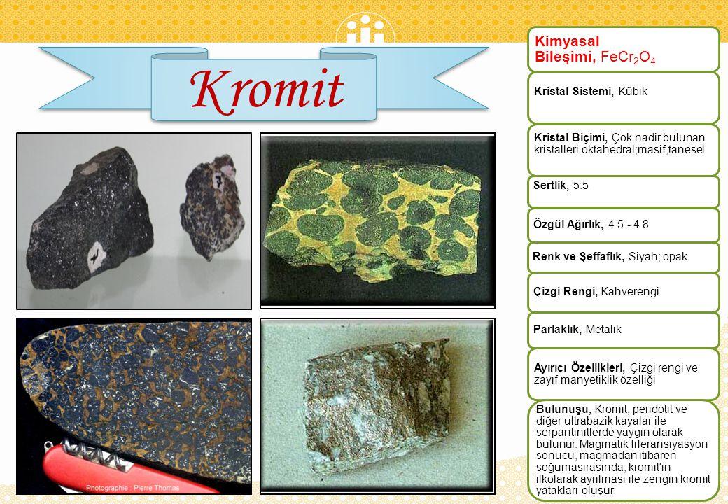 Kromit Kimyasal Bileşimi, FeCr2O4 Kristal Sistemi, Kübik