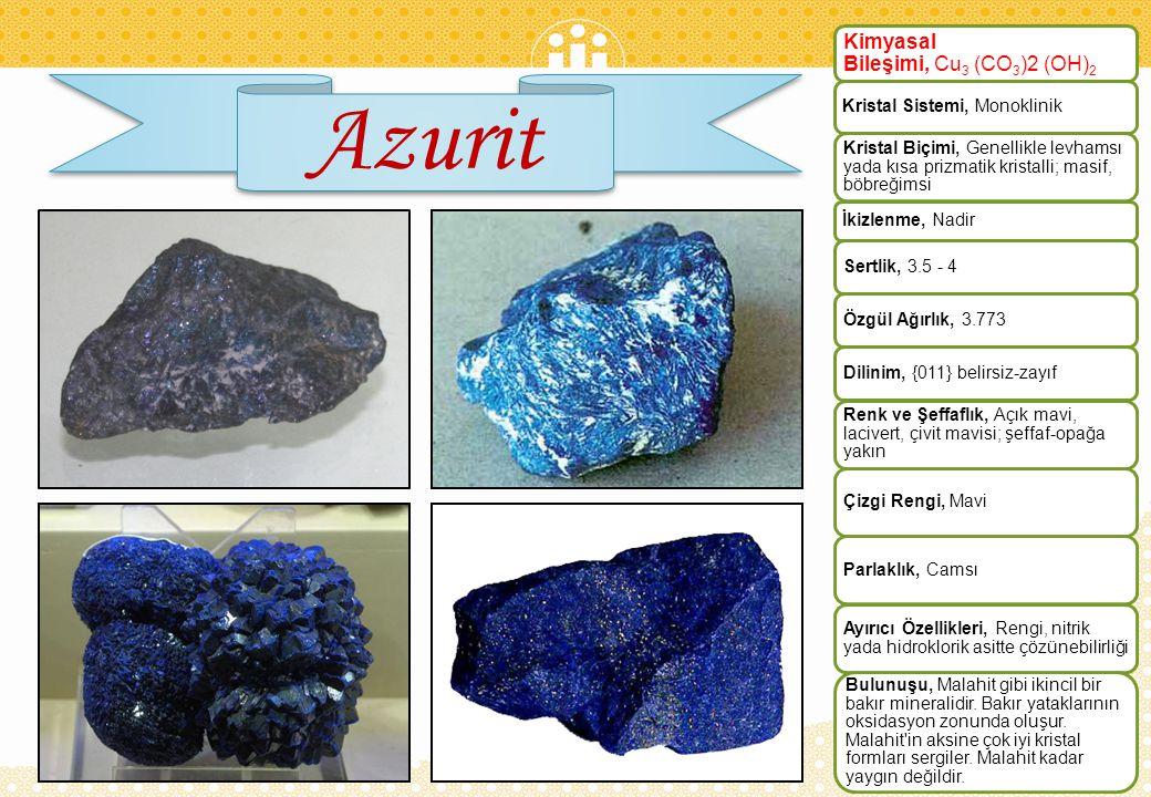 Azurit Kimyasal Bileşimi, Cu3 (CO3)2 (OH)2 Kristal Sistemi, Monoklinik