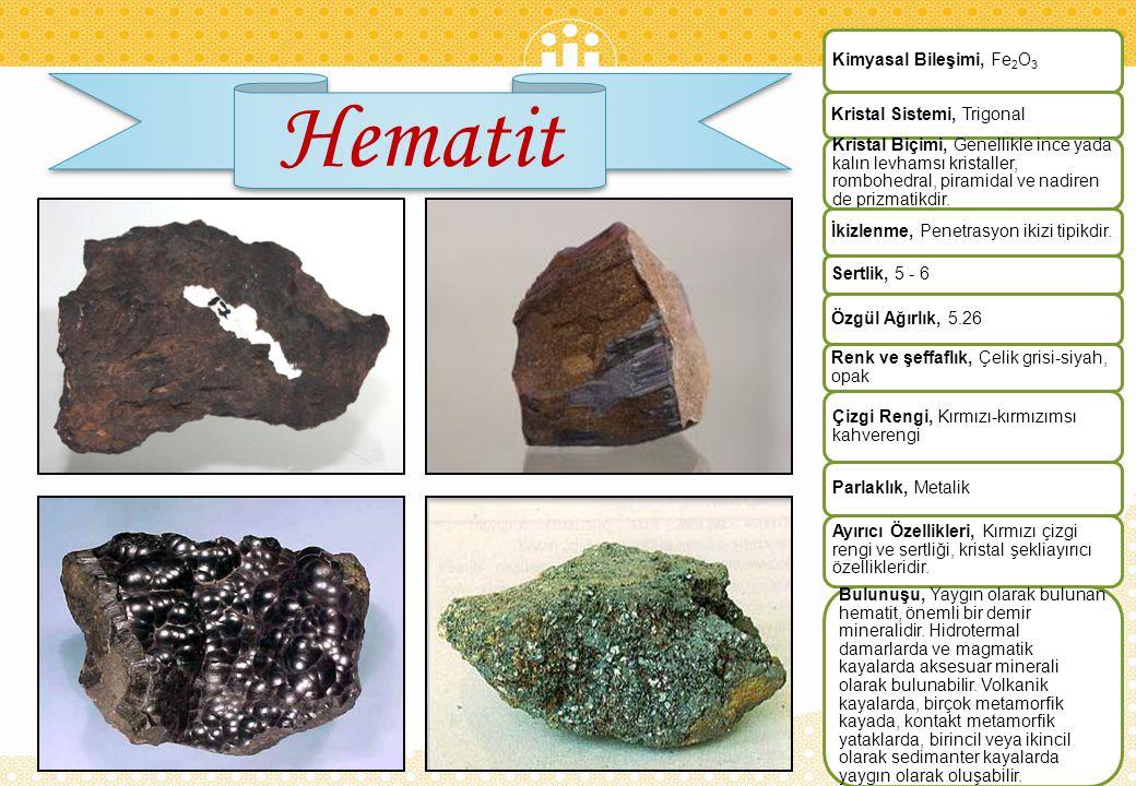 Hematit Kimyasal Bileşimi, Fe2O3 Kristal Sistemi, Trigonal
