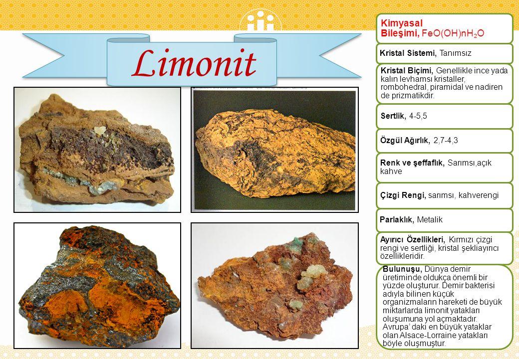 Limonit Kimyasal Bileşimi, FeO(OH)nH₂O Kristal Sistemi, Tanımsız