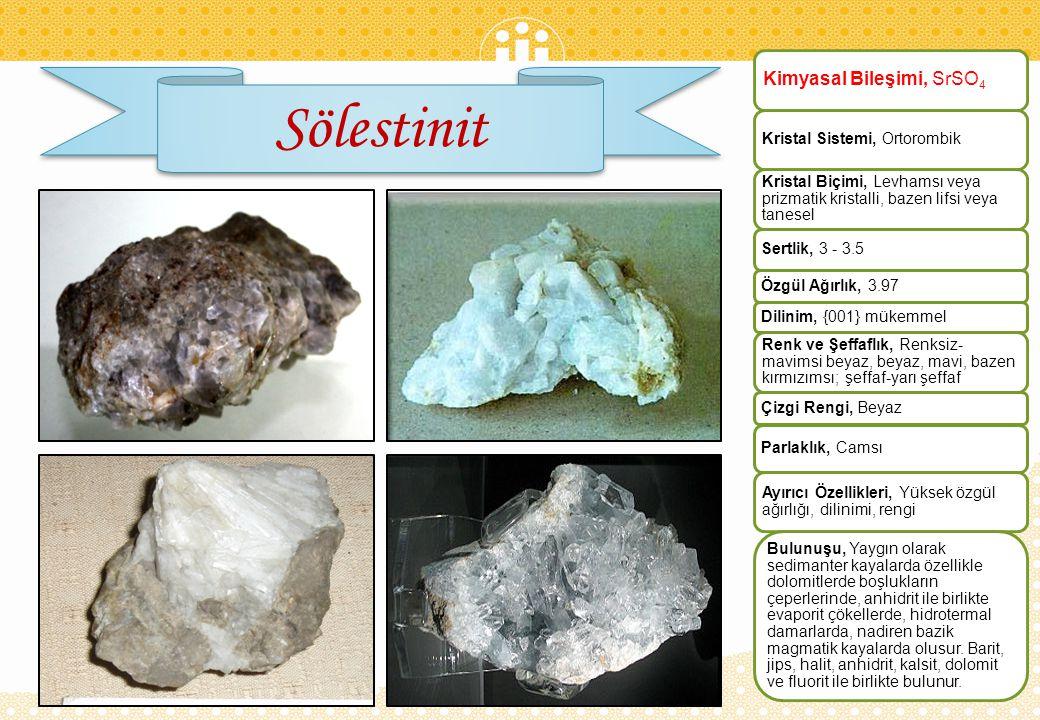 Sölestinit Kimyasal Bileşimi, SrSO4 Kristal Sistemi, Ortorombik