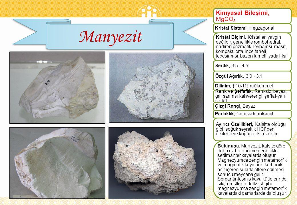 Manyezit Kimyasal Bileşimi, MgCO3 Kristal Sistemi, Hegzagonal
