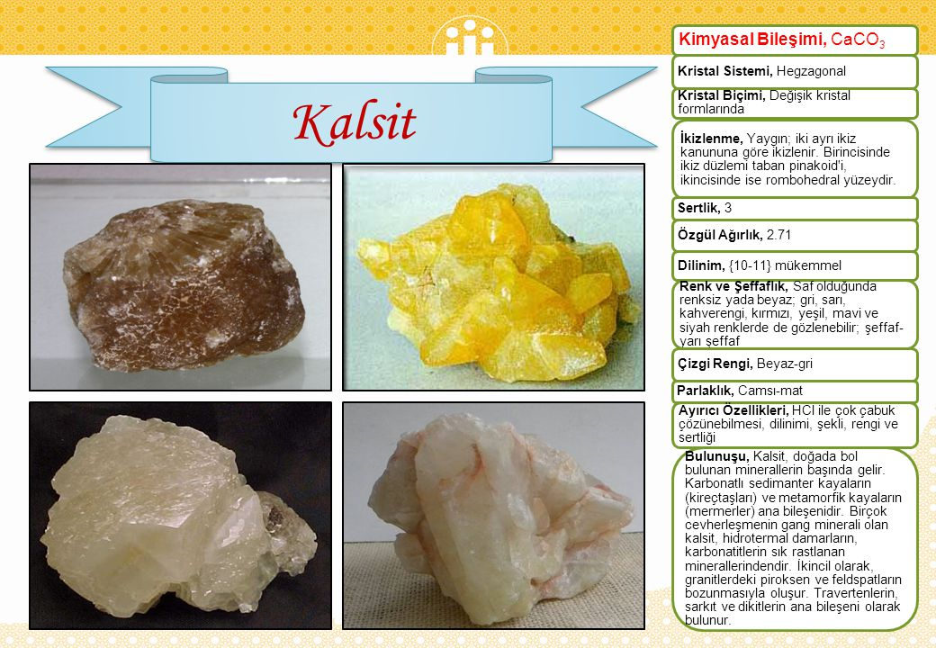 Kalsit Kimyasal Bileşimi, CaCO3 Kristal Sistemi, Hegzagonal