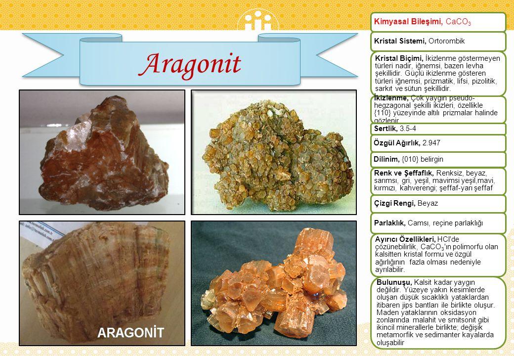 Aragonit Kimyasal Bileşimi, CaCO3 Kristal Sistemi, Ortorombik