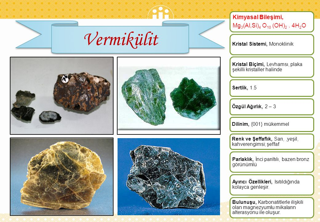 Vermikülit Kimyasal Bileşimi, Mg3(Al,Si)4 O10 (OH)2 . 4H2O