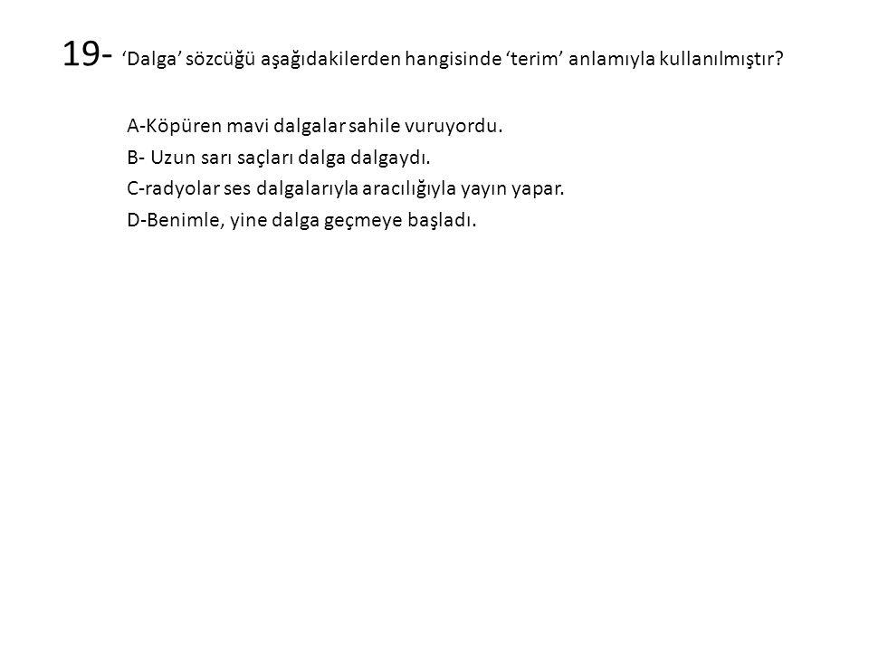 19- 'Dalga' sözcüğü aşağıdakilerden hangisinde 'terim' anlamıyla kullanılmıştır