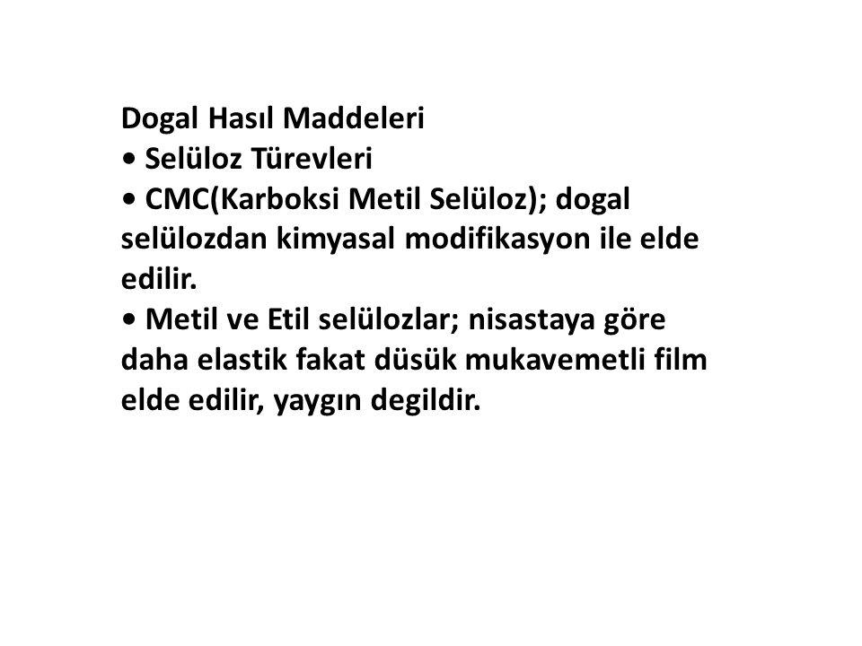 Dogal Hasıl Maddeleri • Selüloz Türevleri. • CMC(Karboksi Metil Selüloz); dogal. selülozdan kimyasal modifikasyon ile elde.