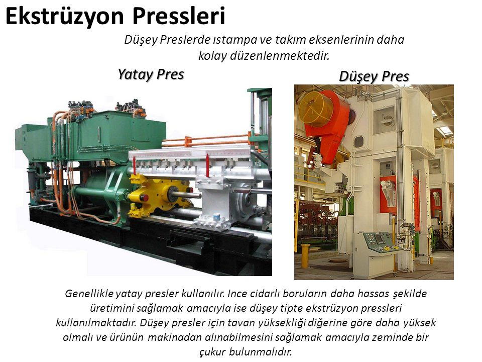 Ekstrüzyon Pressleri Yatay Pres Düşey Pres