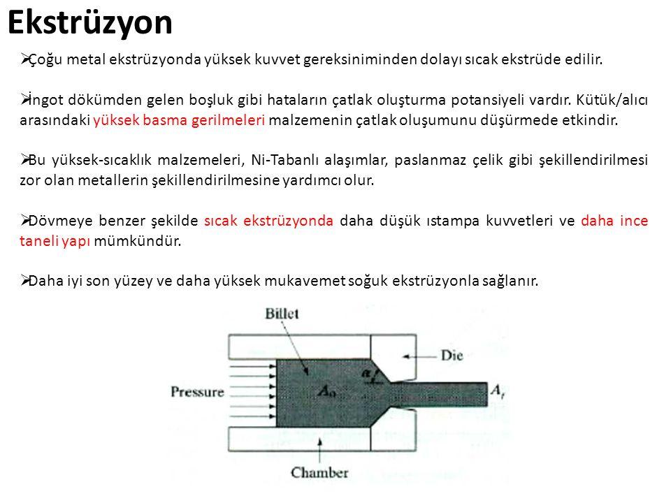Ekstrüzyon Çoğu metal ekstrüzyonda yüksek kuvvet gereksiniminden dolayı sıcak ekstrüde edilir.