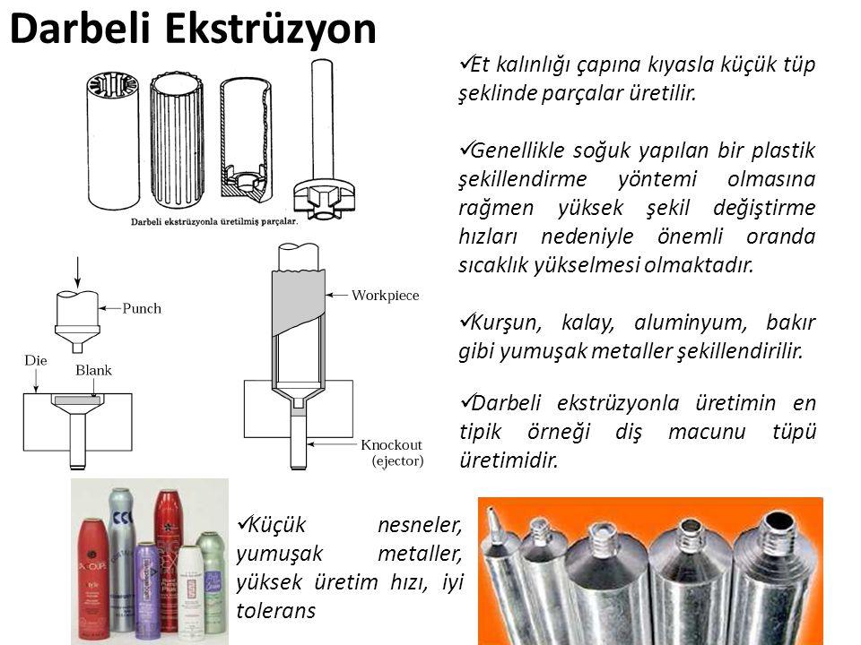 Darbeli Ekstrüzyon Et kalınlığı çapına kıyasla küçük tüp şeklinde parçalar üretilir.