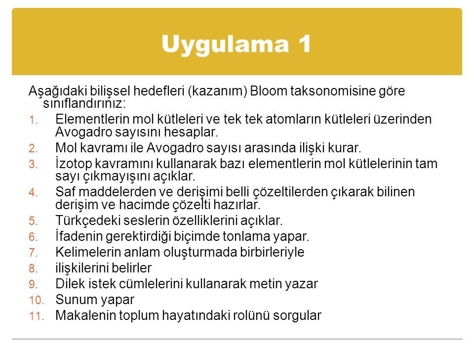 Uygulama 1 Aşağıdaki bilişsel hedefleri (kazanım) Bloom taksonomisine göre sınıflandırınız: