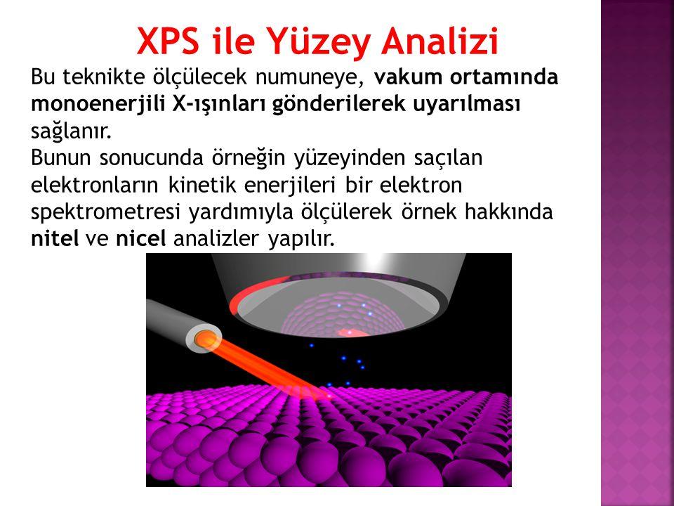 XPS ile Yüzey Analizi Bu teknikte ölçülecek numuneye, vakum ortamında monoenerjili X-ışınları gönderilerek uyarılması sağlanır.