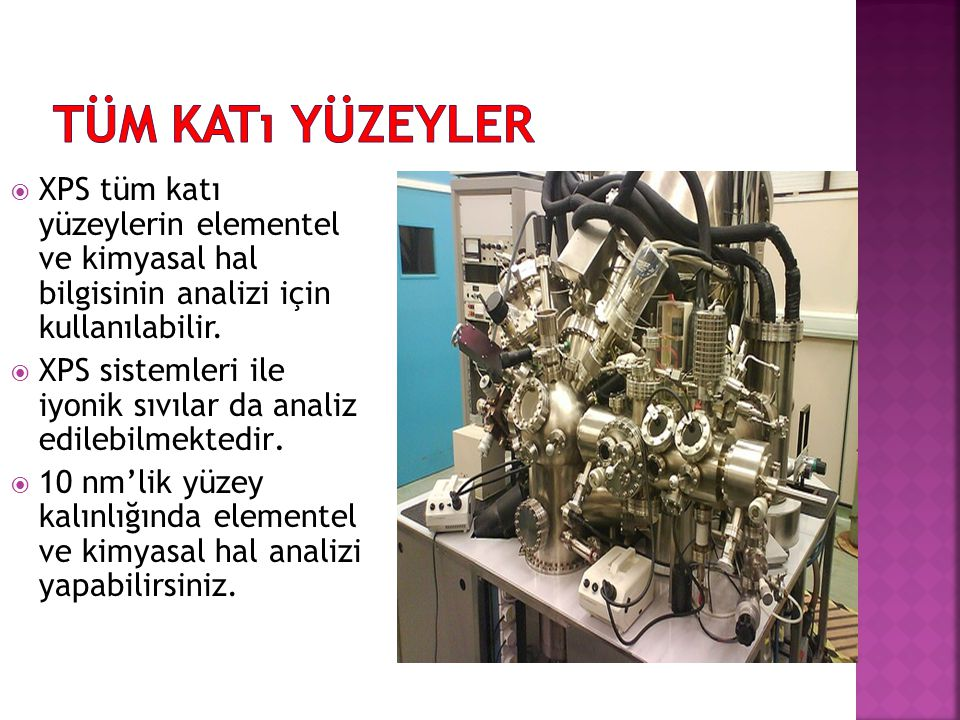 Tüm Katı Yüzeyler XPS tüm katı yüzeylerin elementel ve kimyasal hal bilgisinin analizi için kullanılabilir.