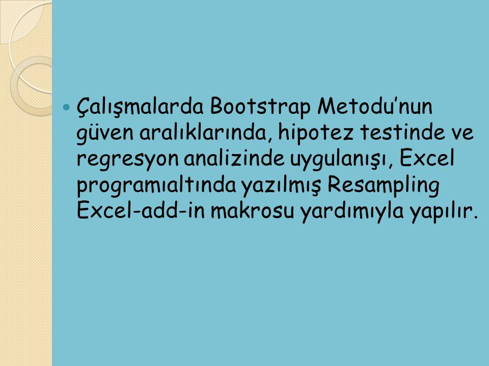Çalışmalarda Bootstrap Metodu'nun güven aralıklarında, hipotez testinde ve regresyon analizinde uygulanışı, Excel programıaltında yazılmış Resampling Excel-add-in makrosu yardımıyla yapılır.