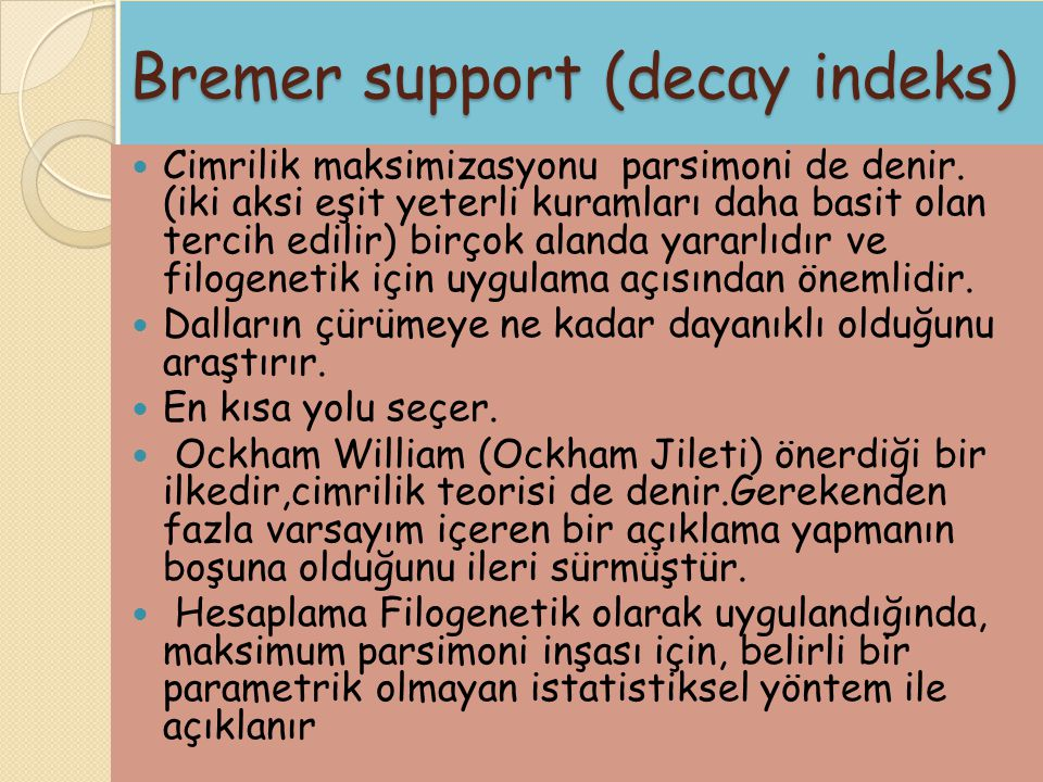 Bremer support (decay indeks)