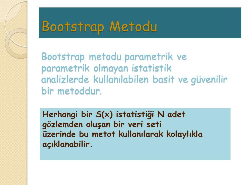 Bootstrap Metodu Bootstrap metodu parametrik ve parametrik olmayan istatistik analizlerde kullanılabilen basit ve güvenilir bir metoddur.