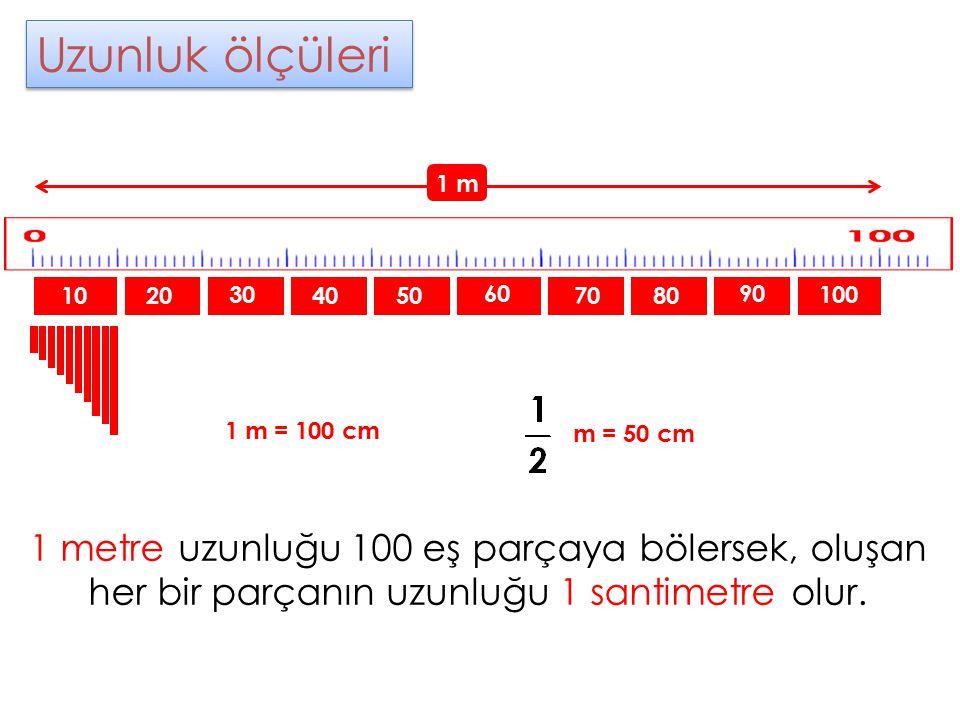 Uzunluk ölçüleri 1 m. 10. 20. 30. 40. 50. 60. 70. 80. 90. 100. 1 m = 100 cm. m = 50 cm.
