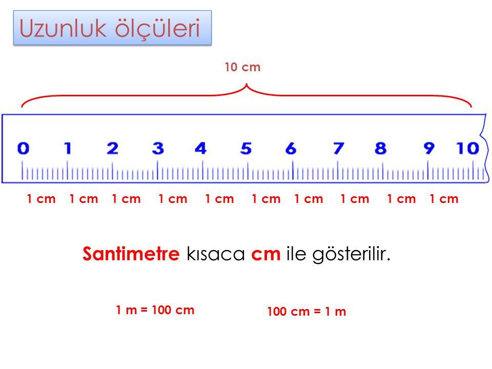 Uzunluk ölçüleri Santimetre kısaca cm ile gösterilir. 10 cm 1 cm 1 cm