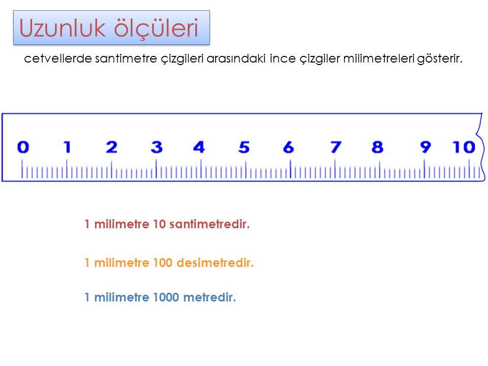 Uzunluk ölçüleri cetvellerde santimetre çizgileri arasındaki ince çizgiler milimetreleri gösterir. 1 milimetre 10 santimetredir.