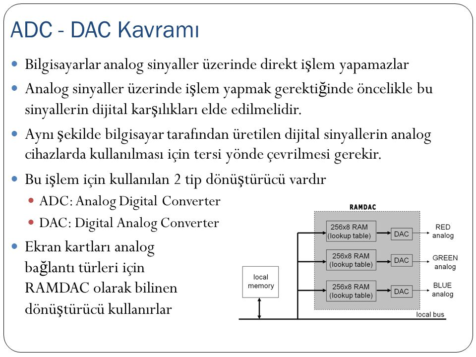 ADC - DAC Kavramı Bilgisayarlar analog sinyaller üzerinde direkt işlem yapamazlar.