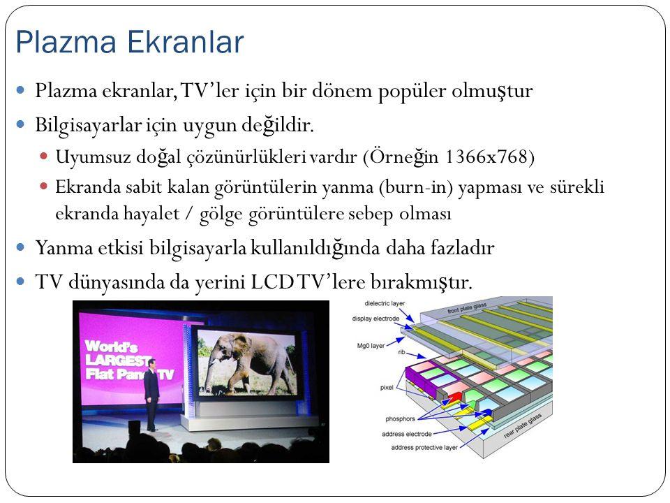 Plazma Ekranlar Plazma ekranlar, TV'ler için bir dönem popüler olmuştur. Bilgisayarlar için uygun değildir.