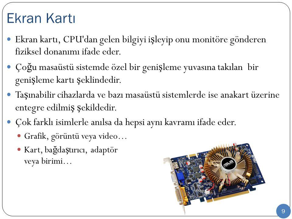 Ekran Kartı Ekran kartı, CPU dan gelen bilgiyi işleyip onu monitöre gönderen fiziksel donanımı ifade eder.