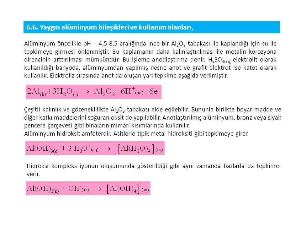 6.6. Yaygın alüminyum bileşikleri ve kullanım alanları,