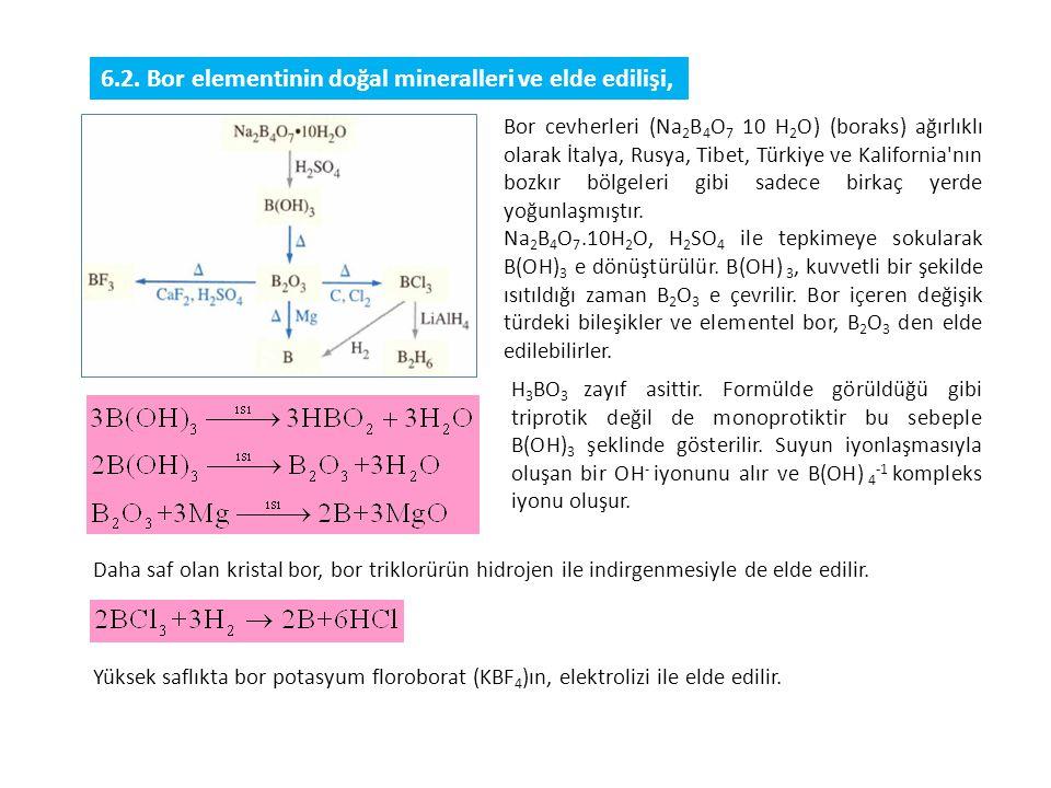 6.2. Bor elementinin doğal mineralleri ve elde edilişi,