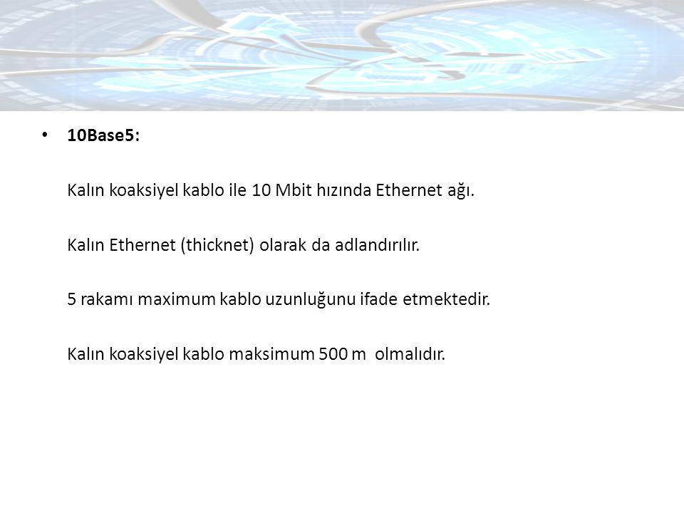 10Base5: Kalın koaksiyel kablo ile 10 Mbit hızında Ethernet ağı. Kalın Ethernet (thicknet) olarak da adlandırılır.