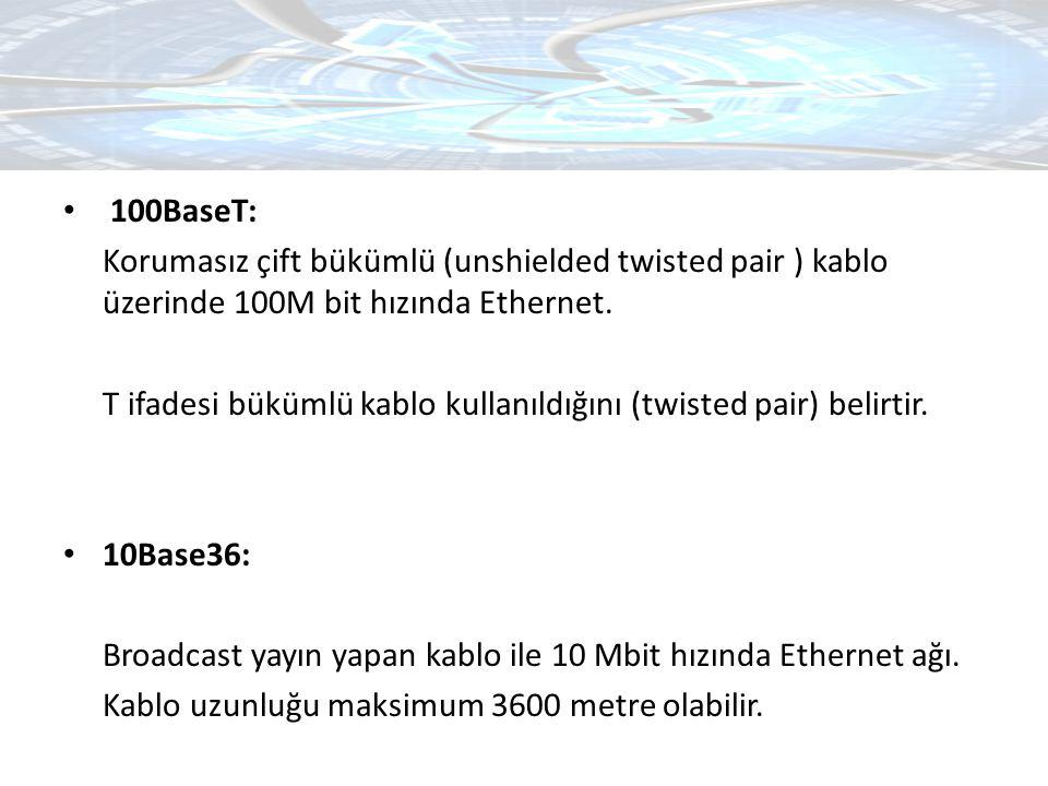 100BaseT: Korumasız çift bükümlü (unshielded twisted pair ) kablo üzerinde 100M bit hızında Ethernet.