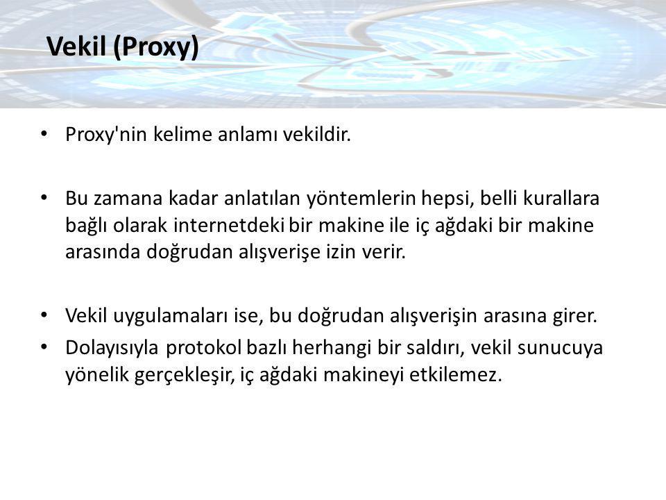 Vekil (Proxy) Proxy nin kelime anlamı vekildir.