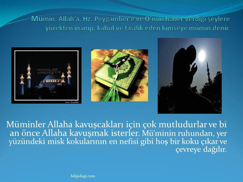 Mümin: Allah'a, Hz. Peygamber'e ve O'nun haber verdiği şeylere yürekten inanıp, kabul ve tasdik eden kimseye mümin denir.