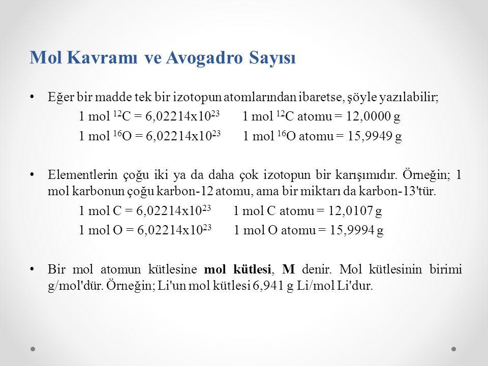 Mol Kavramı ve Avogadro Sayısı