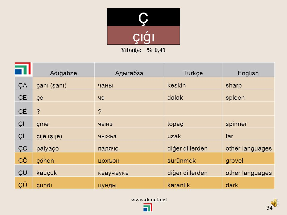 Ç çıǵı Yibağe: % 0,41 Adıǵabze Адыгабзэ Türkçe English ÇA çanı (şanı)