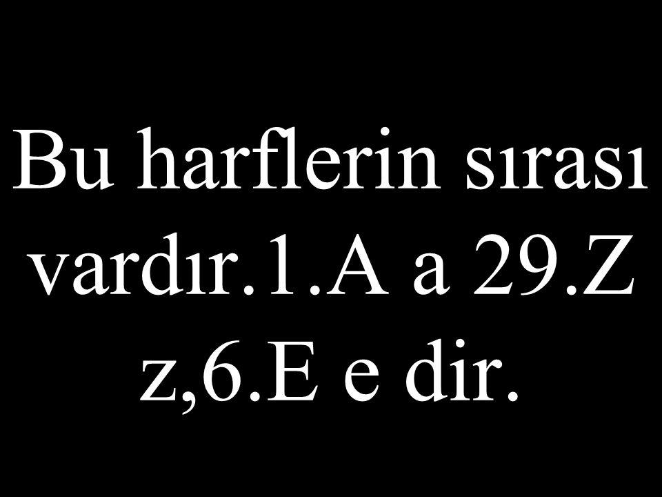 Bu harflerin sırası vardır.1.A a 29.Z z,6.E e dir.