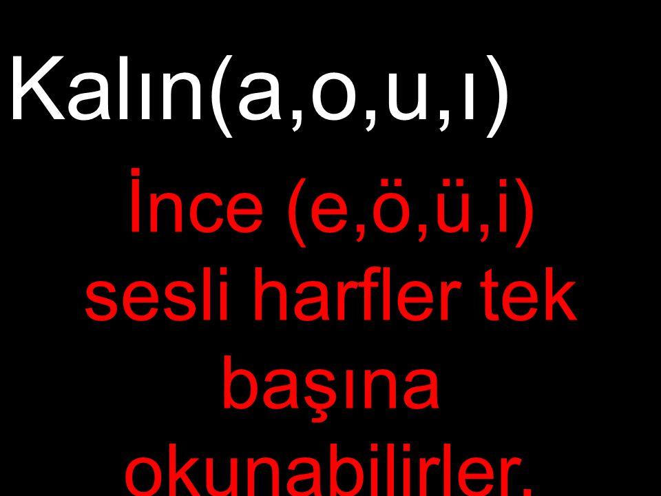 İnce (e,ö,ü,i) sesli harfler tek başına okunabilirler.