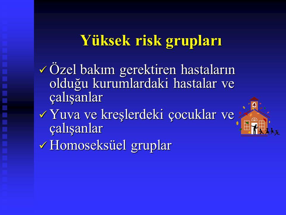 Yüksek risk grupları Özel bakım gerektiren hastaların olduğu kurumlardaki hastalar ve çalışanlar. Yuva ve kreşlerdeki çocuklar ve çalışanlar.