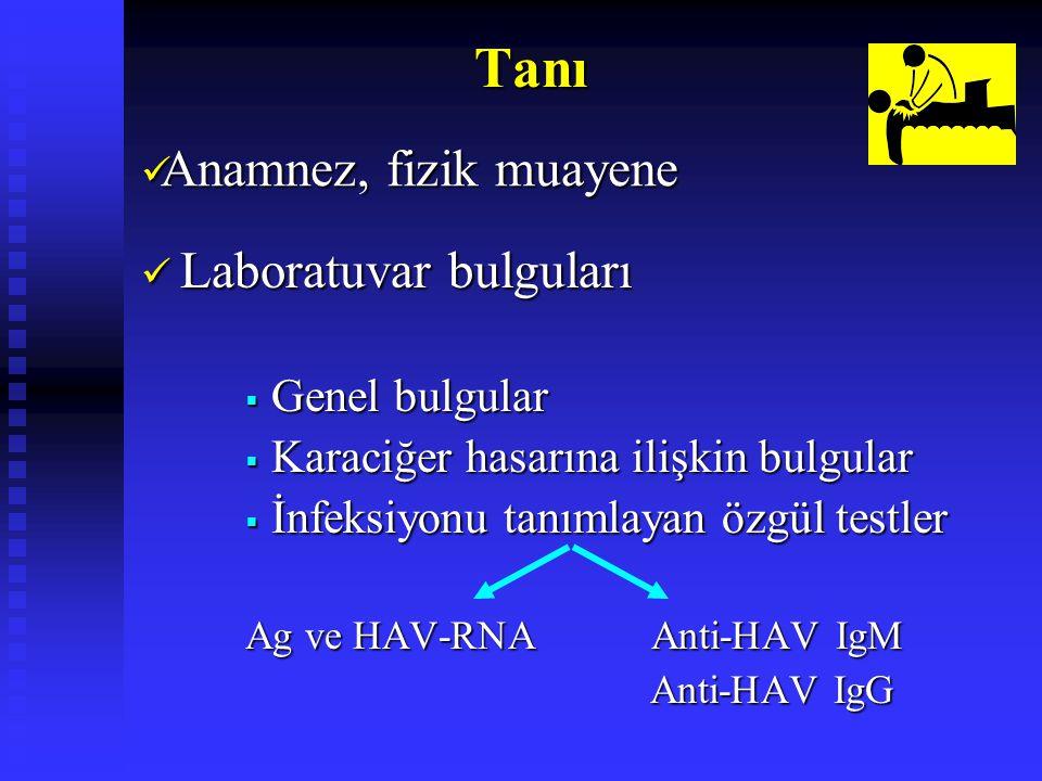 Tanı Anamnez, fizik muayene Laboratuvar bulguları Genel bulgular