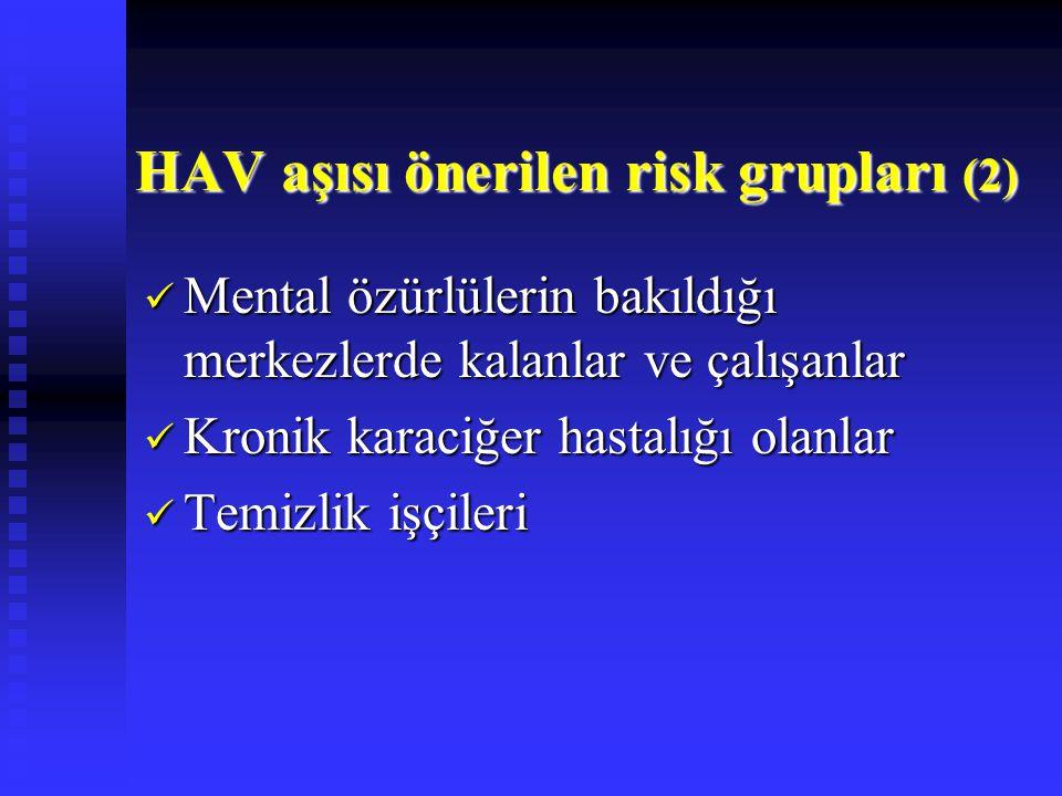 HAV aşısı önerilen risk grupları (2)