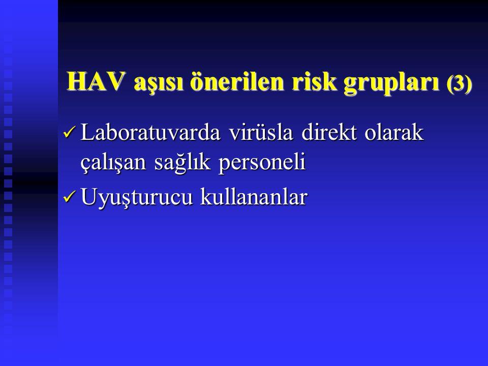 HAV aşısı önerilen risk grupları (3)