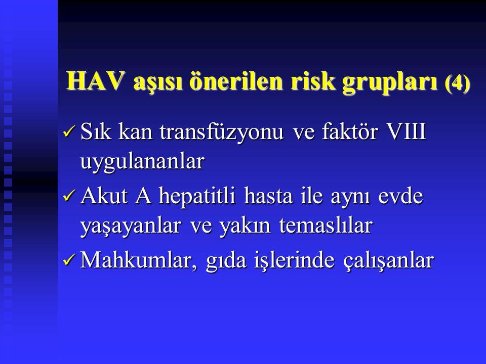 HAV aşısı önerilen risk grupları (4)